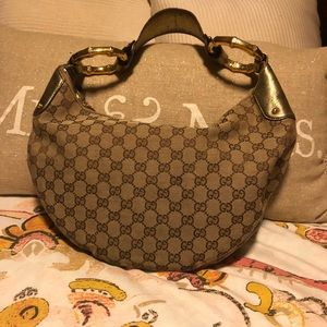 Brown and Gold Gucci Hobo